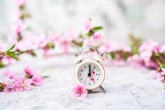 Concept de fleur de ressort Horloge, plan rapproch? d'arbre de floraison et espace miniatures de copie Texture naturelle rose d'a photo stock