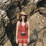 Concept de Focus Shooting Nature de photographe d'appareil-photo de fille image stock