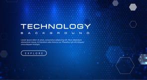 Concept de fond de technologie avec des effets de la lumière abstraits des textes de code binaire illustration de vecteur