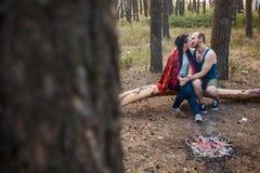 Concept de forêt de feu de pique-nique de nature d'amour de couples Photographie stock libre de droits