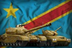 Concept de forces de réservoir du République démocratique du Congo sur le fond de drapeau national illustration 3D illustration stock