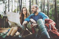 Concept de Forest Adventure Travel Remote Relax de camp Photographie stock libre de droits