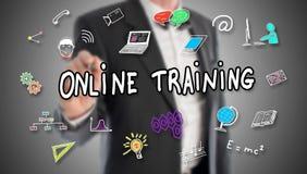 Concept de formation en ligne dessiné par un homme d'affaires image libre de droits