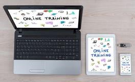 Concept de formation en ligne sur différents dispositifs photos stock