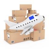 Concept de fret aérien Bande dessinée Toy Jet Airplane avec l'Union européenne Photo stock