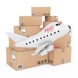 Concept de fret aérien Bande dessinée Toy Jet Airplane avec la livraison rapide S Images libres de droits