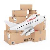 Concept de fret aérien Bande dessinée Toy Jet Airplane avec le signe de cargaison près Image stock