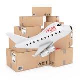Concept de fret aérien Bande dessinée Toy Jet Airplane avec S de expédition gratuit Image libre de droits