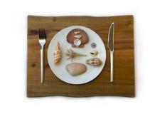 Concept de fruits de mer Coquilles d'un plat Image stock