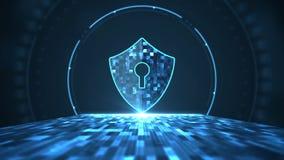 Concept de garantie de Cyber Bouclier avec l'icône de trou de la serrure au centre numérique, au serveur et au transfert de grand illustration stock