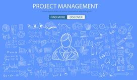 Concept de gestion des projets avec le style de conception de griffonnage Photo stock
