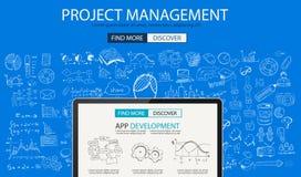 Concept de gestion des projets avec le style de conception de griffonnage : inteview de personnes Photo stock