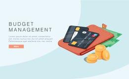 Concept de gestion du budget dans l'illustration isom?trique de vecteur Fond d'économie d'argent avec le bénéfice ou le revenu de illustration libre de droits