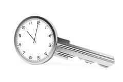 Concept de gestion du temps Horloge moderne comme clé rendu 3d illustration de vecteur