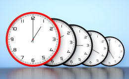 Concept de gestion du temps Horloges modernes rondes de bureau illustration stock