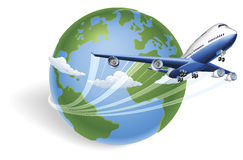 Concept de globe d'avion Photographie stock