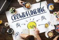 Concept de graphique d'ampoule d'affaires d'argent de Crowdfunding Photo libre de droits