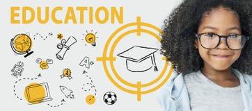 Concept de graphique d'apprentissage informatique de chapeau de Word d'éducation Photographie stock
