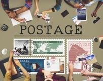 Concept de graphique de courrier de timbre de colis de lettre d'affranchissement photo libre de droits