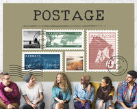 Concept de graphique de courrier de timbre de colis de lettre d'affranchissement photographie stock libre de droits