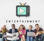 Concept de graphique de divertissement de media de bouton de jeu de TV Photos stock