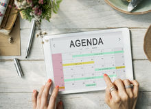 Concept de graphique de programme de rappel de réunion d'événement d'ordre du jour de calendrier Image libre de droits
