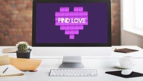 Concept de graphique de technologie de coeur d'amour de découverte Photographie stock libre de droits