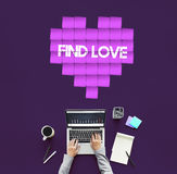 Concept de graphique de technologie de coeur d'amour de découverte Image libre de droits