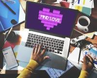 Concept de graphique de technologie de coeur d'amour de découverte Photographie stock