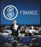 Concept de graphiques d'icônes d'argent liquide d'argent d'investissement de finances Images stock