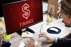 Concept de graphiques d'icônes d'argent liquide d'argent d'investissement de finances Photo stock