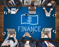 Concept de graphiques d'icônes d'argent liquide d'argent d'investissement de finances Photos libres de droits