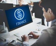 Concept de graphiques d'icônes d'argent liquide d'argent d'investissement de finances Photographie stock libre de droits