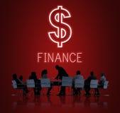 Concept de graphiques d'icônes d'argent liquide d'argent d'investissement de finances Photographie stock