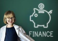 Concept de graphiques d'icônes d'argent liquide d'argent d'investissement de finances Images libres de droits