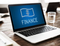 Concept de graphiques d'icônes d'argent liquide d'argent d'investissement de finances Image libre de droits