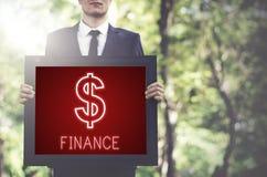 Concept de graphiques d'icônes d'argent liquide d'argent d'investissement de finances Photos stock