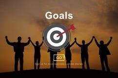 Concept de graphiques de cible d'objectifs de mission de buts Image libre de droits