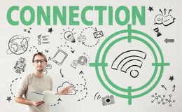 Concept de graphiques de signal de Wifi de cible de connexion Image libre de droits