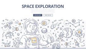Concept de griffonnage d'exploration d'espace illustration libre de droits
