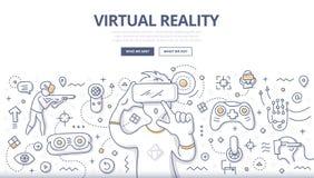 Concept de griffonnage de réalité virtuelle Photographie stock