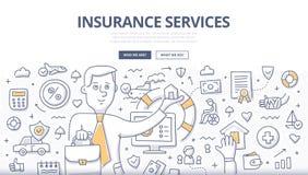 Concept de griffonnage de services d'assurance Image libre de droits