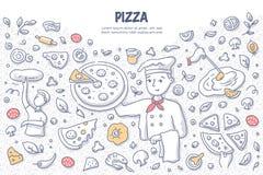 Concept de griffonnage de pizza illustration stock