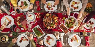 Concept de groupe de dîner de nouvelle année de Noël Photo libre de droits