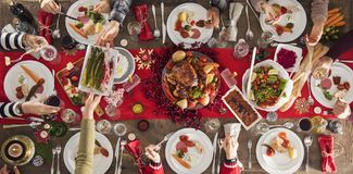 Concept de groupe de dîner de nouvelle année de Noël Photo stock