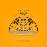 Concept de Halloween avec les battes, la lune, le cercueil et les tombes Photographie stock