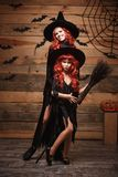 Concept de Halloween - belle mère caucasienne et sa fille avec de longs cheveux rouges dans des costumes de sorcière célébrant la Photo stock