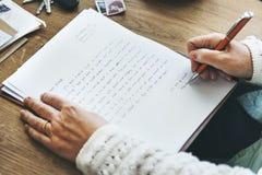Concept de Handswriting de lettre d'écriture de correspondance photos stock