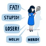 Concept de intimidation de Cyber Adolescente intimidé par les message textuels abusifs Illustration plate de vecteur de style illustration libre de droits