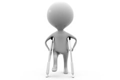 concept de jambe cassée de l'homme 3d Photo libre de droits
